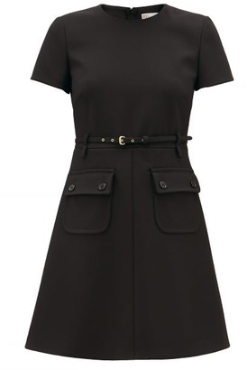 RED Valentino Belted Technical-twill Mini Dress - Womens - Black