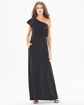 Soma Intimates Soft Jersey One Shoulder Ruffle Maxi Dress Black