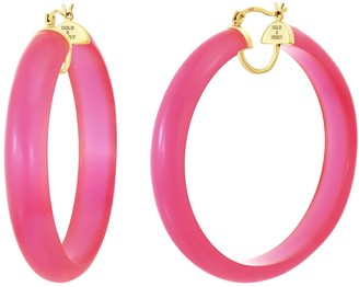 Gold & Honey Frosted Lucite Hoops - Hot Pink