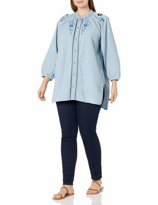 Lucky Brand Women's Plus Size Button UP Peasant Shirt with EMBRODERY