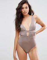 Asos Gathered Deep Plunge Swimsuit