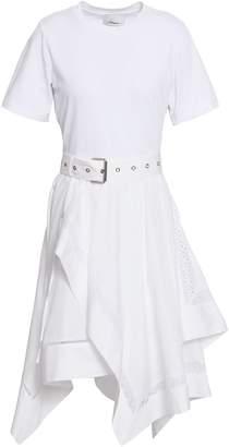 3.1 Phillip Lim Asymmetric Belted Cotton-jersey And Poplin Dress
