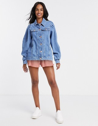 Pieces denim jacket with puff sleeves in blue