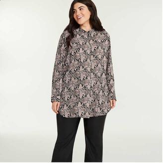 Joe Fresh Women's Mandarin Collar Tunic, Black (Size 3X)