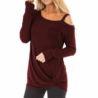 Toamen Women's Tops T-Shirt Sale Clearance 2019 New Ladies Sexy Cold Shoulder Long Sleeve Twisted Loose Shirt Blouses with Pocket (Wine 12)