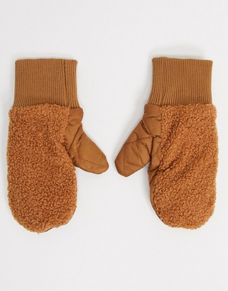 My Accessories London mittens in teddy and quilted nylon