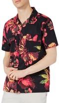 Topman Men's Floral Print Revere Collar Shirt