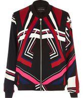 River Island Womens Black multicoloured print bomber jacket