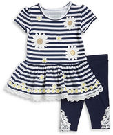 Flapdoodles Girls 2-6x Sequined Striped Dress and Leggings Set