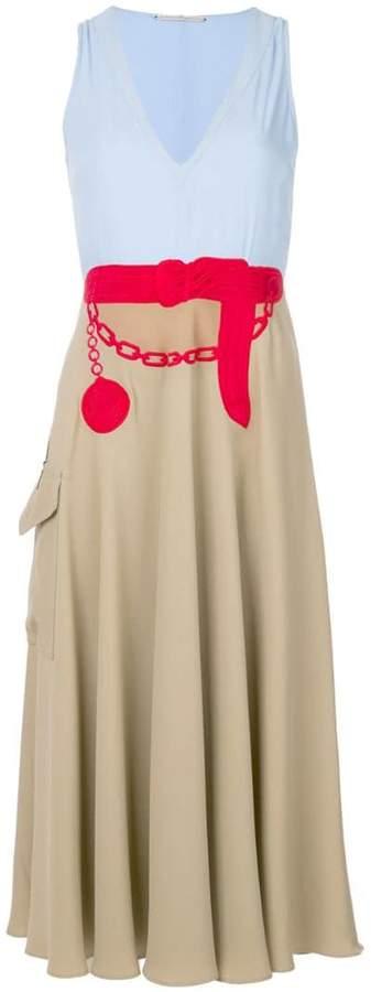 Marco De Vincenzo embroidered belt colour block dress