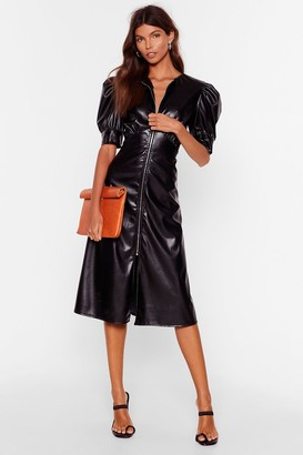 Nasty Gal Womens Let Zip Happen Faux Leather Midi Dress - black - 4