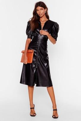 Nasty Gal Womens Let Zip Happen Faux Leather Midi Dress - Black - 4
