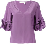 See by Chloe frilled sleeve top - women - Silk/Viscose - 40