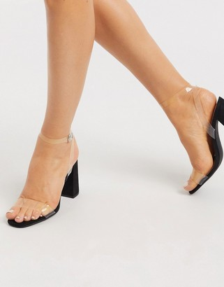 New Look clear strap block heeled sandals in black