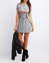 Charlotte Russe Corset-Detail Rock On Graphic Shirtdress