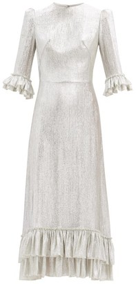 The Vampire's Wife The New Falconetti Ruffled Lame Midi Dress - Silver