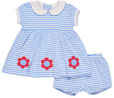 Florence Eiseman Smocked Striped Jersey Dress w/ Bloomers, Blue, Size 3-24 Months