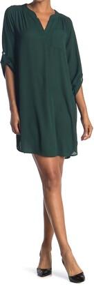 WEST KEI Split Neck 3/4 Sleeve Tunic Shirt Dress