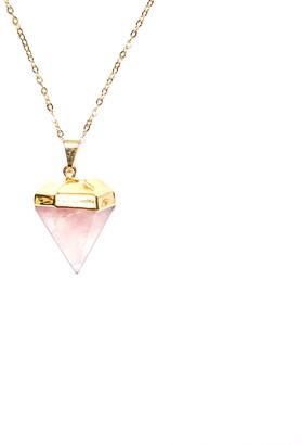 Saffire Mini Rose Quartz Gemstone Pendant Diamond Shape