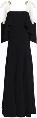 Halston Cold-shoulder Ruffled Crepe Gown