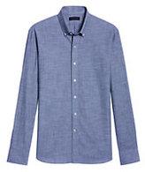 modern Men's Long Sleeve Albini Dress Shirt-Navy Shadow Plaid