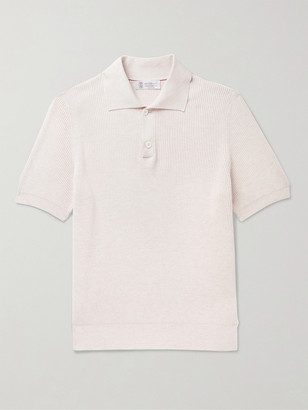 Brunello Cucinelli Ribbed Cotton Polo Shirt - Men - Neutrals