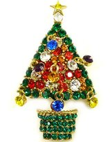 Butler & Wilson Butler and Wilson Crystal Christmas Tree Brooch Green