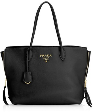 Prada Daino Side Zip Leather Shopper
