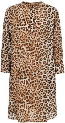Lindsay Nicholas New York Shirt Dress In Leopard Silk