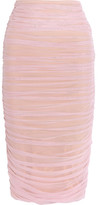 Norma Kamali Ruched Stretch-tulle Skirt - Pastel pink