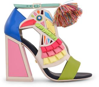Kat Maconie Colorblock Bird Pom Ankle-Strap Sandals