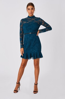 Paper Dolls Carman Petrol Lace Belted Pephem Mini Dress