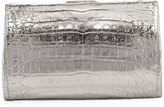 Nancy Gonzalez Metallic Crocodile Slim Frame Clutch Bag
