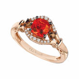 LEVIAN CORP Le Vian Grand Sample Sale Neon Tangerine Fire Opal & 1/5 CT. T.W Vanilla Diamonds and Chocolate Diamonds in 14k Strawberry Gold Ring