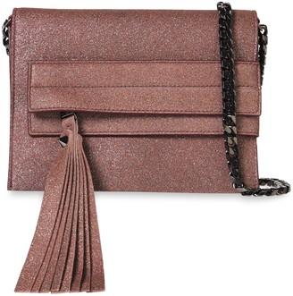 Elena Ghisellini Nina Glittered Leather Clutch