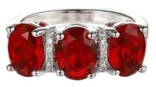 A&M A & M Silver-Tone Ruby Accent Trio Pear Ring