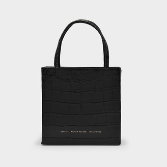 CHYLAK Square Tote In Black Croc Embossed Leather