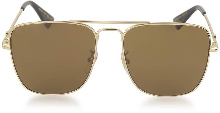 Gucci GG0108S Gold Metal Square Aviator Men's Sunglasses