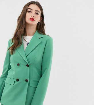 Asos Tall DESIGN Tall double breasted suit blazer in sage-Green