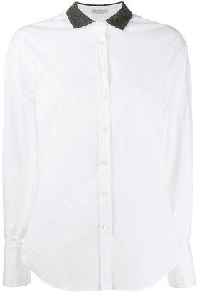 Brunello Cucinelli beaded collar shirt