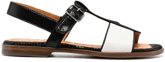 Chie Mihara two-tone embossed T-bar sandals