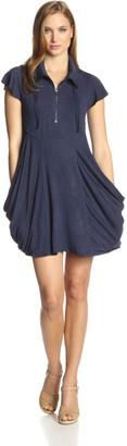 Kensie Women's Drapey French Terry Short Sleeve Dress