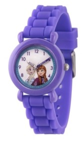 EWatchFactory Girl's Disney Frozen Elsa And Anna Purple Plastic Time Teacher Strap Watch 32mm