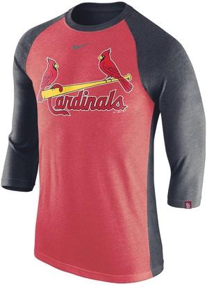 Nike Men's Red/Navy St. Louis Cardinals Tri-Blend Raglan 3/4-Sleeve T-Shirt