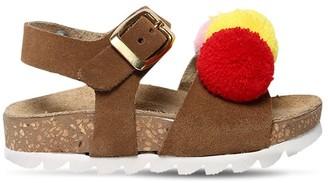 MonnaLisa Faux Leather Sandals W/ Pompoms