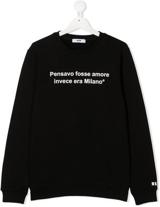 Msgm Kids TEEN slogan print sweater