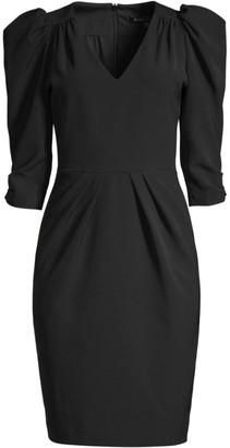 Black Halo Livia Puff-Sleeve Sheath Dress