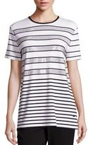 St. John Sport Collection Sequin Striped Tee