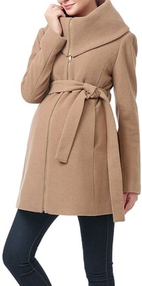 Kimi and Kai Mia High Collar Wool Blend Maternity Coat