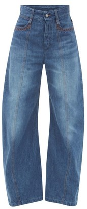 Chloé Embroidered Curved-leg Jeans - Denim